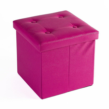 Pink Folding Stool Storage Box Ottoman